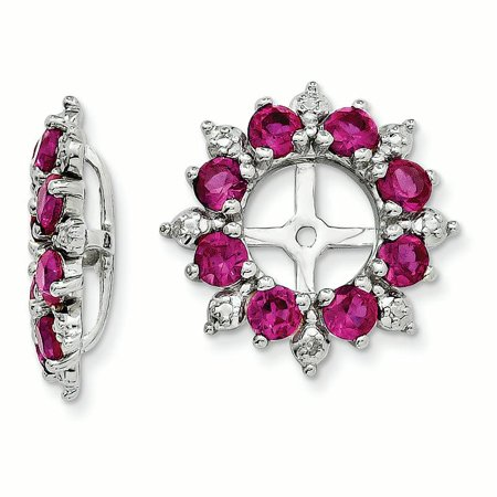 Sterling Silver Rhodium Diam. & Created Ruby Earring Jacket 1.42grams (L 15mm W 15mm)Sterling silver | Diamond | Rhodium-plated | Created Ruby