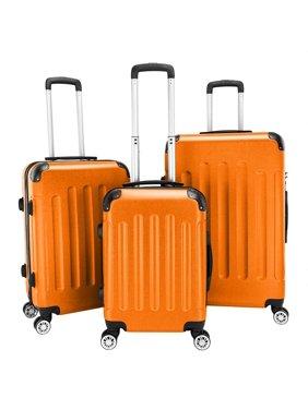 Zimtown Hardside Lightweight Spinner Orange 3 Piece Luggage Set with TSA Lock