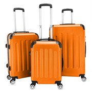 Zimtown Hardside Lightweight Spinner Orange 3 Piece Luggage Set with TSA Lock