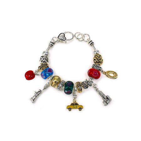 - Beautiful New York Theme Multi Charm Silver Tone Lobster Clasp Bracelet