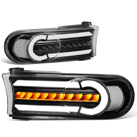 For 2007 to 2014 toyota FJ Cruiser Pair LED DRL+Sequential Turn Signal Front Bumper Light Corner Lamps Black / Clear 08 09 10 11 12 13