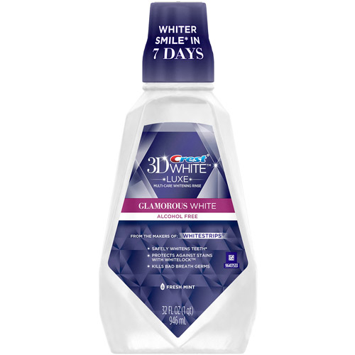 Crest 3D White Glamorous White Multi-Care Whitening Fresh Mint Flavor Mouthwash 946 mL