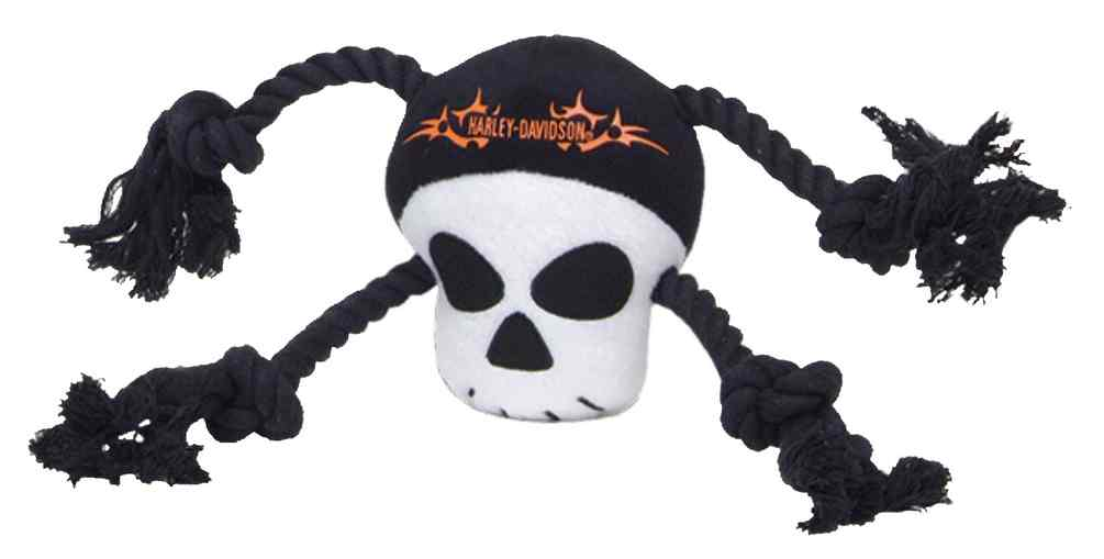 Harley-Davidson Plush Skull Rope Tug Squeaker Toy 12.5 inch H8400 H P23DOG, Harley... by Coastal Pet Products