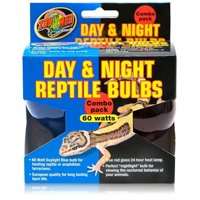 Zoo Med Day and Night Reptile Bulbs, 60 Watts, Combo Pack