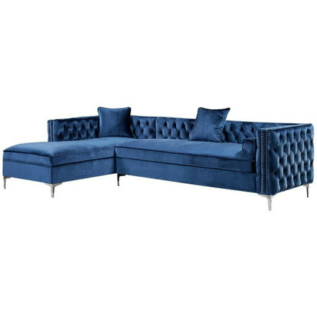Surprising Levi Blue Velvet Chaise Sectional Sofa 115 Inches Left Facing Onthecornerstone Fun Painted Chair Ideas Images Onthecornerstoneorg