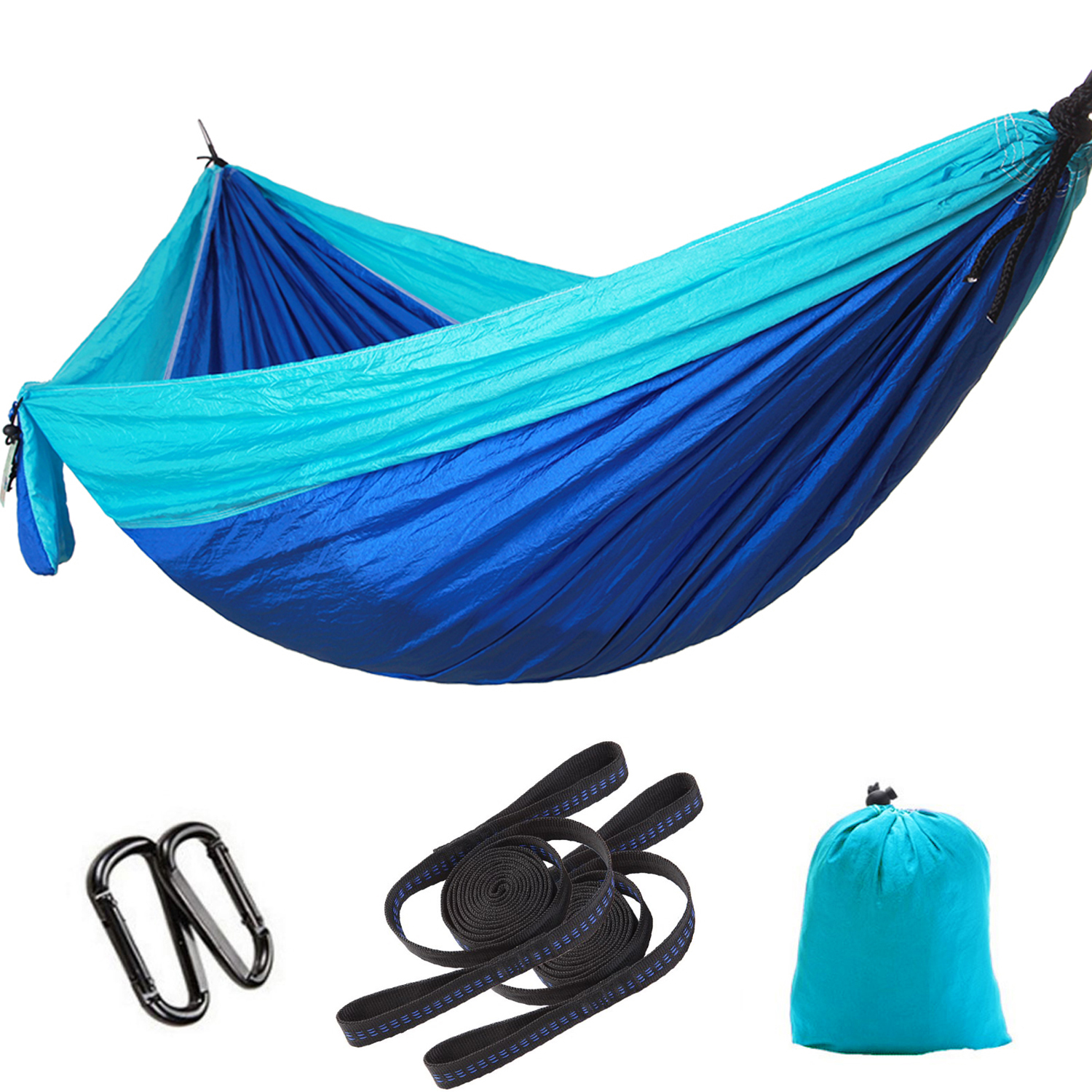 Elegantoss Camping Hammock Double Parachute Portable Including 2 Straps with Loops & Carbines– Best Heavy Duty Lightweight Nylon Parachute Hammock For Camping,Travel,Beach (Black/Red)