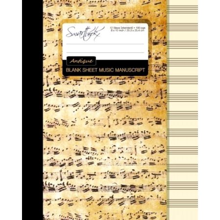 Blank Sheet Music  Music Manuscript Paper   Staff Paper   Musicians Notebook   Book Bound  Perfect Binding    12 Stave   100 Pages   Larg