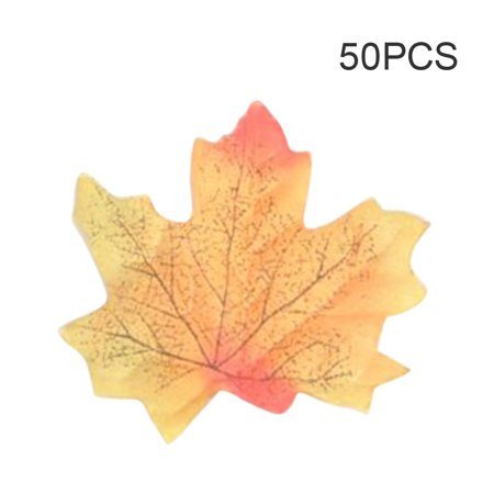 50Pcs Simulation Plant Photo Shoot Props Fake Silk Autumn Maple Leaves Artificial Fall Leaf Table Door Fall Wedding Party Birthday Baby Shower Decorations - Fall Leaves Decorations