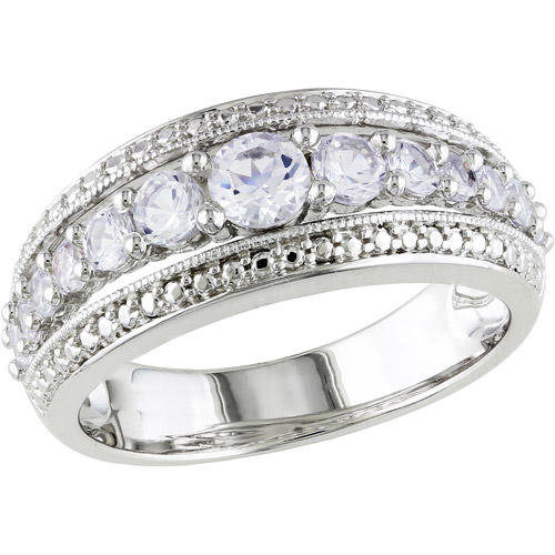 1-1/8 Carat T.G.W. Created White Sapphire Sterling Silver Wedding Ring