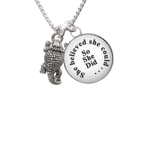 """Horn Toad She Believed She Could So She Did Glass Dome Necklace, 18""""+2"""""""