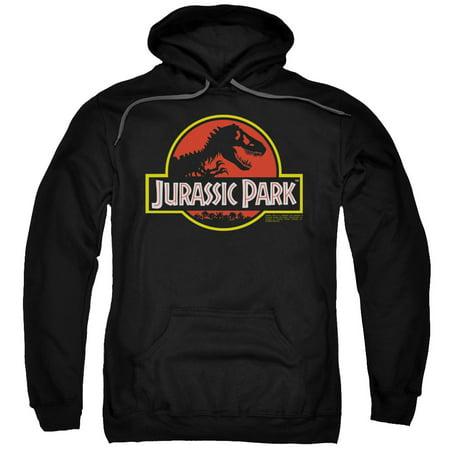 Logo Mens Hoodie Sweatshirt - Jurassic Park Classic Logo Mens Pullover Hoodie