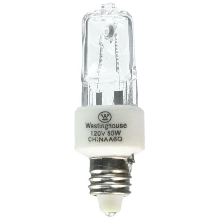 E11 Base Westinghouse Light Bulb - 0442300, 50W T4, E11 Mini-Can Base Clear 1300Hr 600LM 120V Halogen Light Bulb, Watts: 50, Volts: 120 By Westinghouse