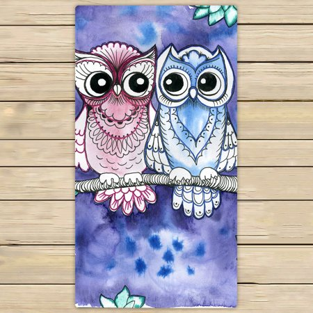 YKCG Watercolor Owls on Branches Green Tree Leaves Hand Towel Beach Towels Bath Shower Towel Bath Wrap For Home Outdoor Travel Use 30x56 inches ()