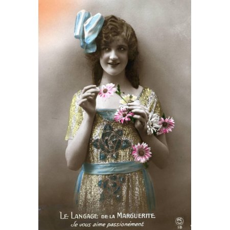 French Postcard of Woman Holding Flowers Print Wall Art
