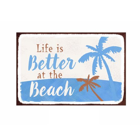 483482d0be Barnyard Designs Life is Better at The Beach Retro Vintage Tin Bar Sign  Country Home Decor 10