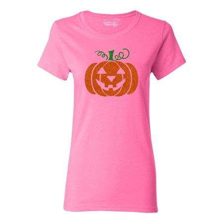 Glitter Jack O' Lantern Pumpkin Halloween Costume Womens T-Shirt Top (Glitter Halloween Shirts)