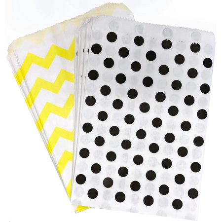 Black, Yellow and White Bee Theme Paper Treat Sacks  48 Pack - Black And White Party Theme