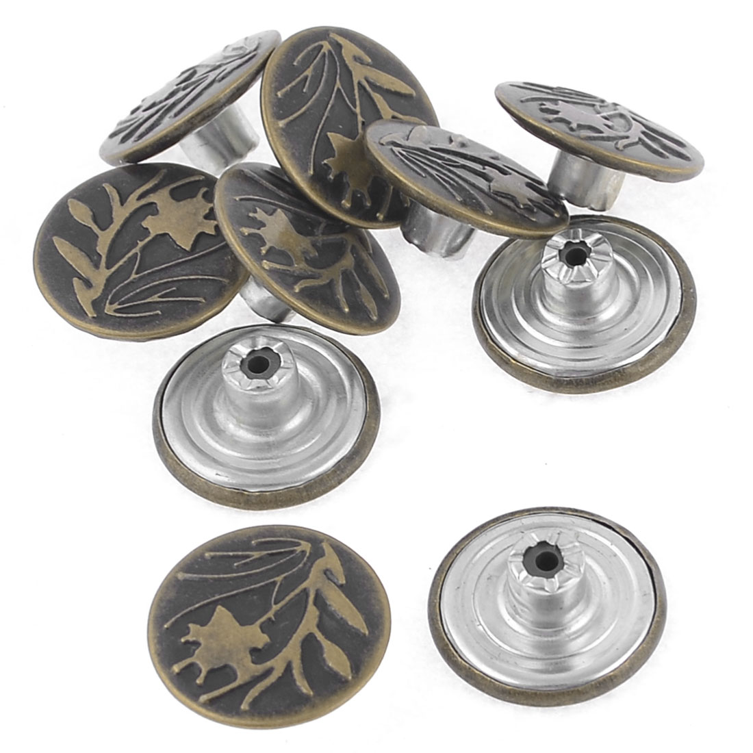 Denim Jacket Jeans Flower Carved Metal Tack Buttons Replacement 10 Pcs