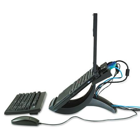 3M Vertical Notebook Computer Riser, Cable Management, 9x12x6 1/2 - 9 1/2, Black
