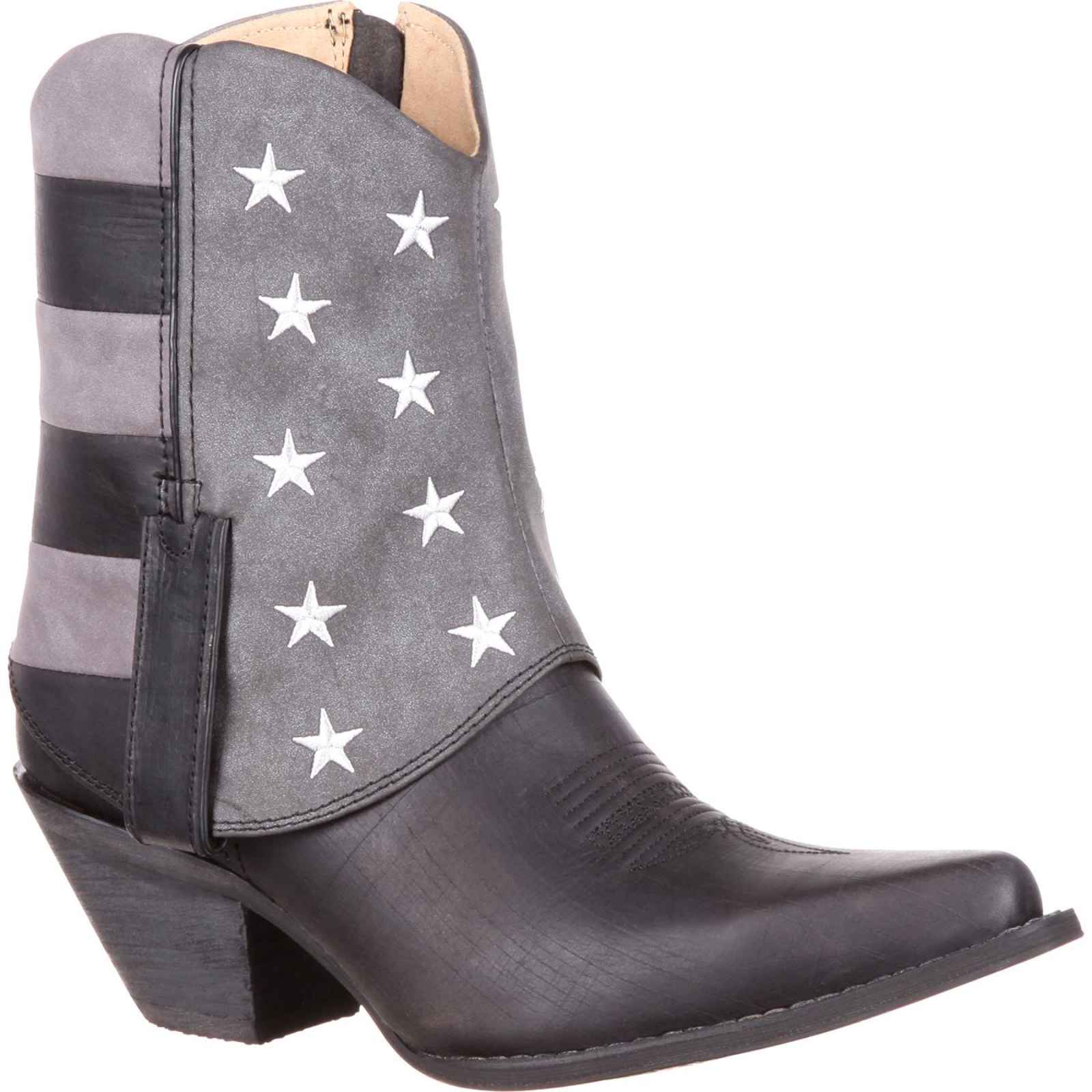 Crush by Durango Women's Fold Down Black and Grey Flag Bootie DRD0200 by Durango