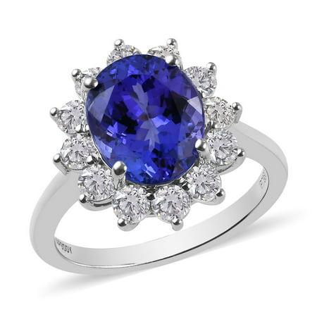 RHAPSODY 950 Platinum Oval AAAA Blue Tanzanite White Diamond Ring Jewelry for Women Ct 6.1 E-F Color Vs1-Vs2 Clarity Marquise Vs2 Loose Diamonds