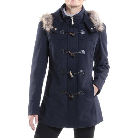 Alpine Swiss Duffy Womens Hooded Parka Fur Trim Wool Coat Toggle Button - Fur Coat Halloween