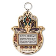 Wooden Hamsa Blessing Home - Good Luck Jerusalem Wall Decor Simulated Gemstones with Cross Design