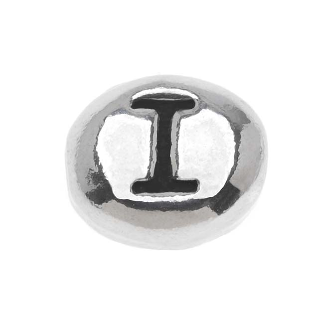 Lead-Free Pewter Alphabet Bead, Letter 'I' 8mm Oval, 1 Piece, Antiqued Silver