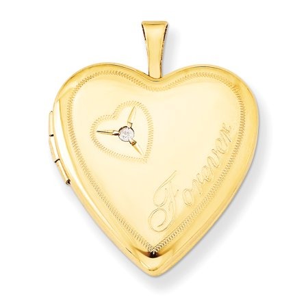1/20 Gold Filled 20mm Diamond In Heart Forever Photo Pendant Charm Locket Chain Necklace That Holds Pictures W/chain Gifts For Women For (Solid White Gold Locket Pendant)