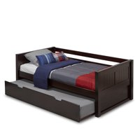 Camaflexi Twin Size Day Bed with Twin Trundle - Panel Headboard - Cappuccino Finish