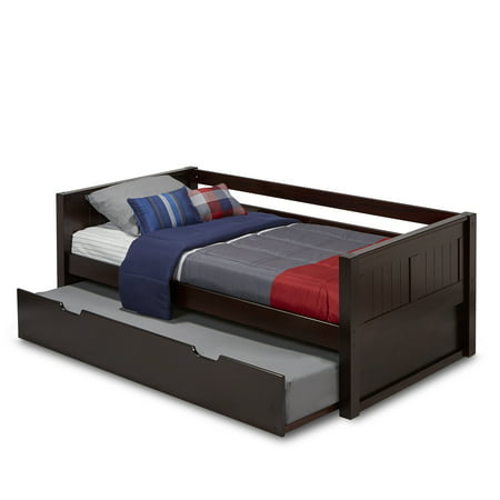 Camaflexi Twin Size Day Bed with Twin Trundle - Panel Headboard - Cappuccino (Extra Long Twin Pop Up Trundle Bed Frame)