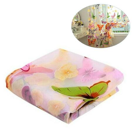 - New Beautiful Window Curtain Large Butterfly Print Screens