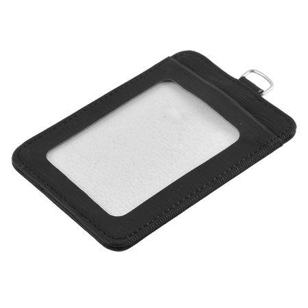 Card Black Faux Leather - Black Faux Leather Vertical Work Business ID Name Card Badge Holder 85mm x 59mm