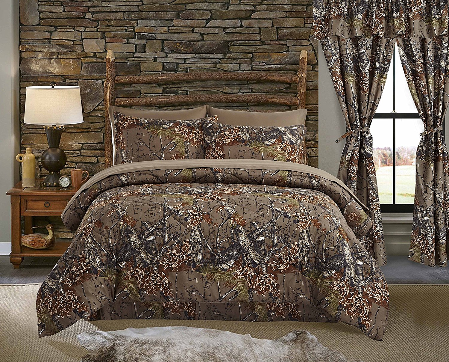 7 PC QUEEN SIZE  WOODS NATURAL CAMO COMFORTER AND BIO GREEN SHEET SET CAMOUFLAGE