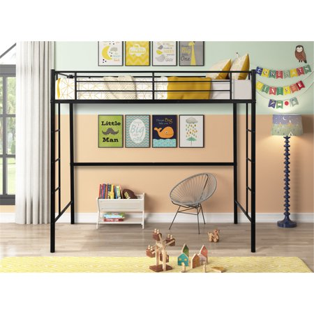 Loft Twin Metal Pipe Bed with Two-side Ladders