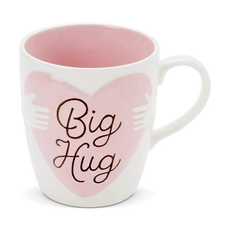 """Enesco 6002626 Our Name is Mud """"Big Hug"""" Oversized, 28 oz. Stoneware Mug (Pink Stoneware)"""