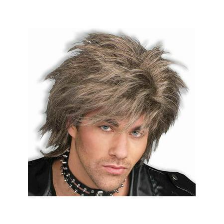Adult Brown Blonde Mixed Punk Idol 80s Rock Star Wig
