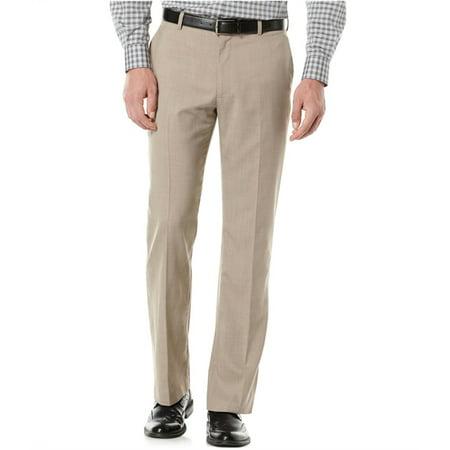 Perry Ellis Mens Textured Dress Slacks, Beige, 50 BigW x 32L