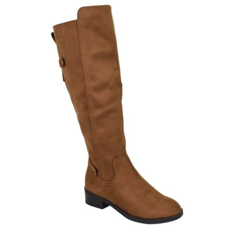 Balloon Tan Brown Chestnut Suede City Classified Women Knee High Riding Small Heel Flat Boots Side Zipper (Suede Knee High Flat Boots)
