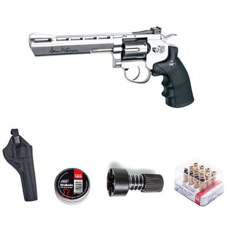ASG Dan Wesson Revolver Pellet Air Gun with Holster/Cartridges/Extra BBs/Speed Loader, Silver, 6