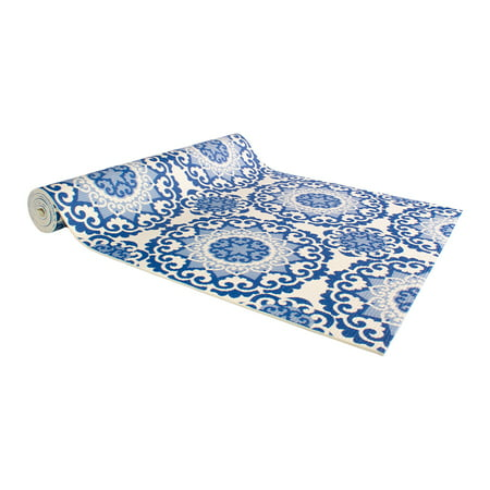 "Silver One Paisley Print Non-Slip Surface High Density Anti-Tear Fitness Yoga Mat with Carrying Stap - 24""x 68"""
