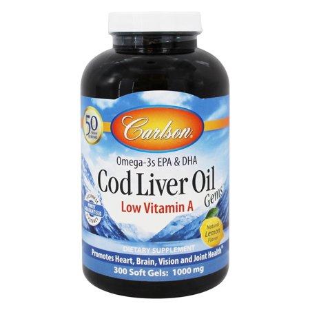 Carlson Labs - Gemas de hígado de bacalao aceite de baja Vitamina A 1000 mg. - 300 Cápsulas Blandas