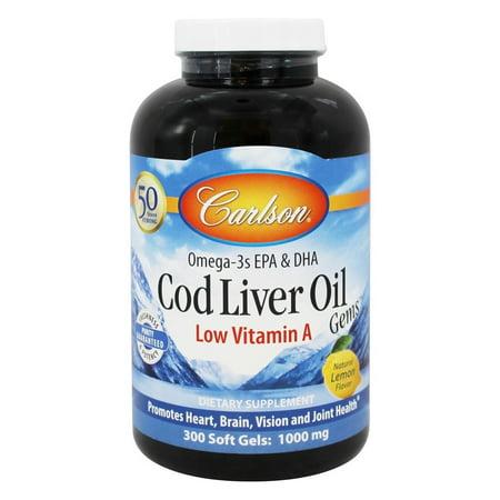 Carlson Cod Liver Oil - Carlson Labs - Cod Liver Oil Gems Low Vitamin A 1000 mg. - 300 Softgels