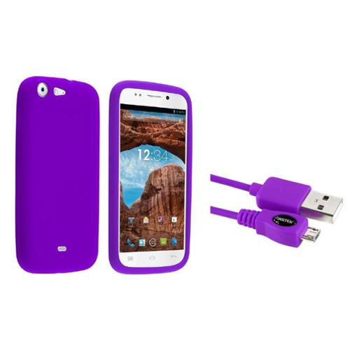 Insten Purple Multi-Soft Silicone Rubber Case Cover Skin For BLU Life One L120 (+ Free Micro USB Charging Cable)