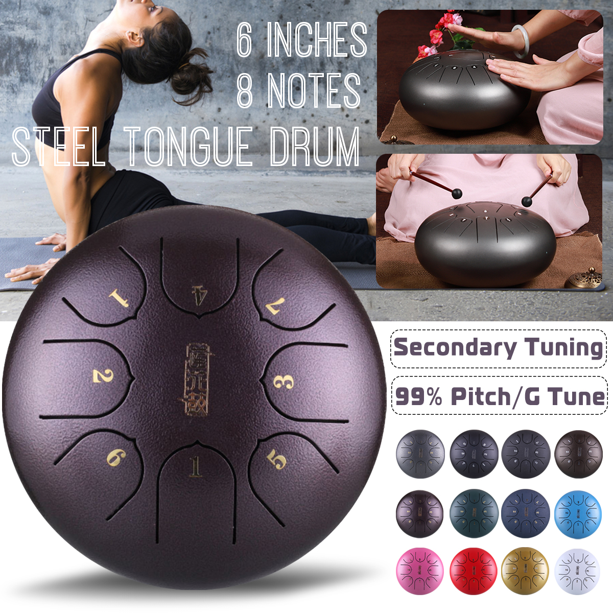 G Tune 8 Notes Hand Pan Handpan Tongue Tank Drum 6 Inch Percussion, Tongue Drum, Handpan Drum with Mallets & Bag