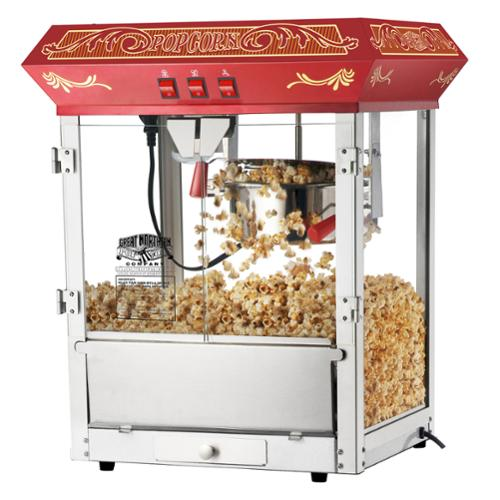Great Northern Popcorn Red Old Time Popcorn Popper Machine, 8 Ounce