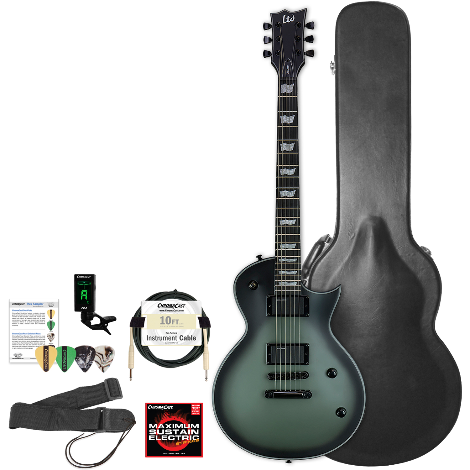 ESP LTD BK600 Bill Kelliher Signature Military Green Sunburst Satin Electric Guitar with Hard Case and... by ESP