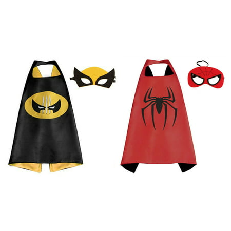 Spiderman & Wolverine Costumes - 2 Capes, 2 Masks with Gift Box by Superheroes](Spider Cape)