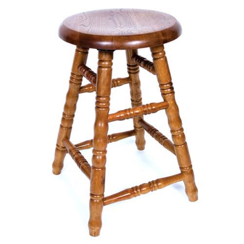 Aw Furniture Solid Medium Oak Backless Saddle Swivel 30