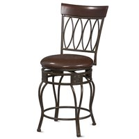 Linon Four Oval Back Counter Stool, Brown, 24 inch Seat Height